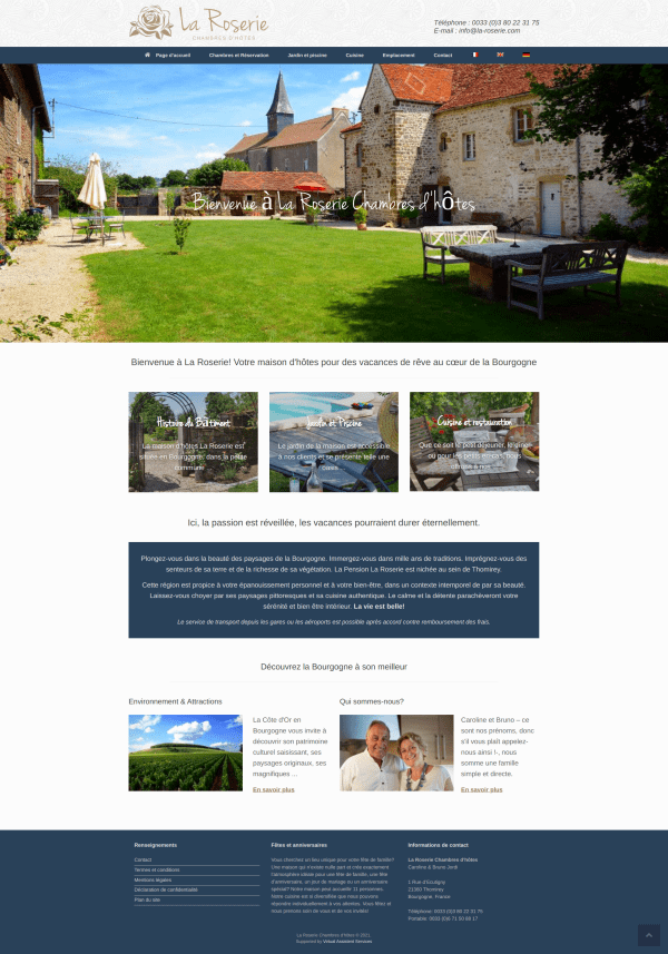La Roserie historic guesthouse in France, hotel website.