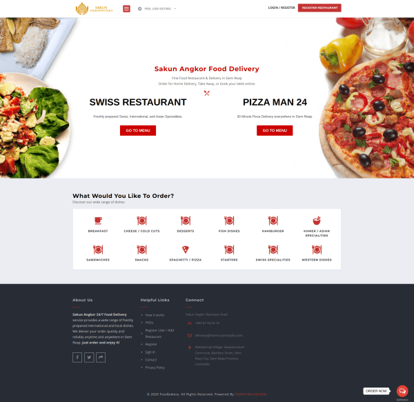 WordPress onlineshop for a food delivery service.